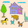 Animals on the big farm coloring